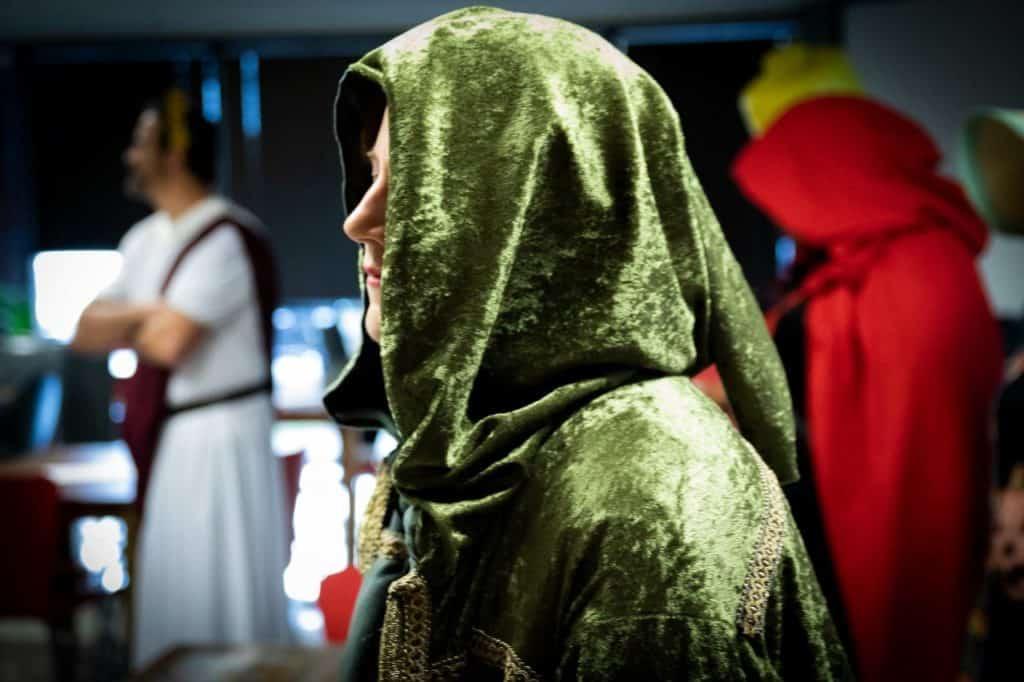 Jessica Lawrence wearing handmade cloak