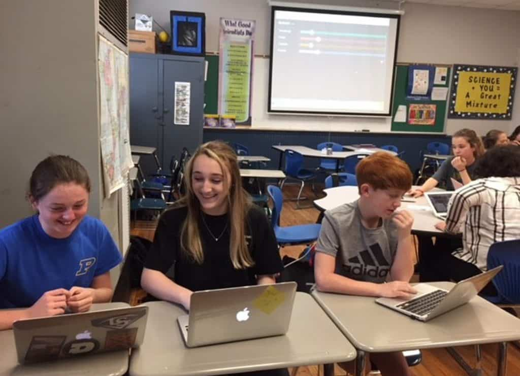 Students doing work on their laptops