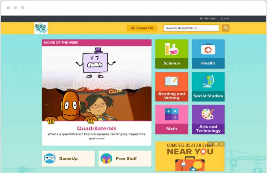 Brainpop Junior Dashboard